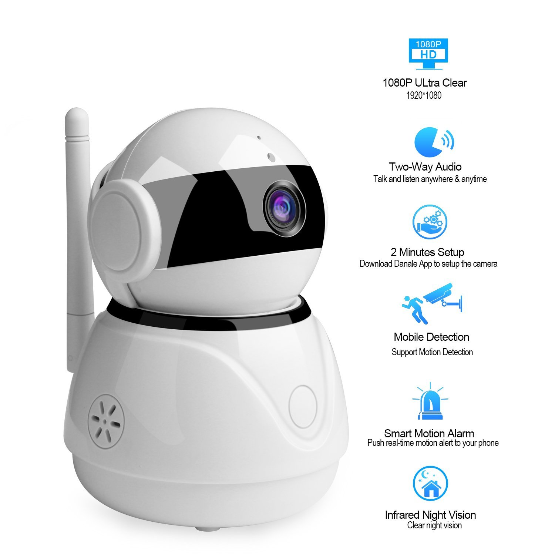 BESDERSEC WiFi Security Camera, Pro HD 1080P Home Security IP Camera Night  Vision Compatible Echo Dot Remote Surveillance Camera Baby Pet Monitors