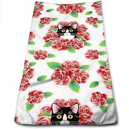 QiFfan22 Toallas de algodón para Gatos y Rosas, Toallas de Cocina de Gran tamaño para
