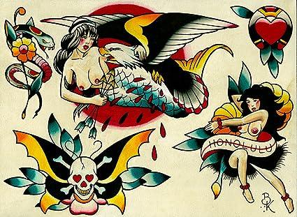 dc87b2826 Amazon.com: Flash 5 by Brian Kelly Nautical Nude Hula Dancer Tattoo ...