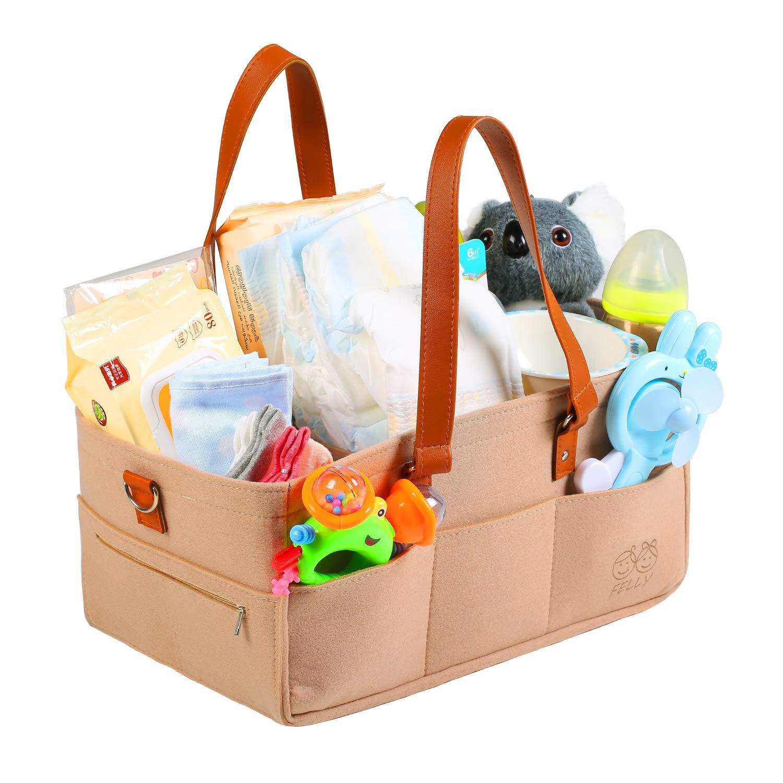 Baby Diaper Caddy Organizer for Wipes Toys GAGAKU Baby Diaper Storage Bin