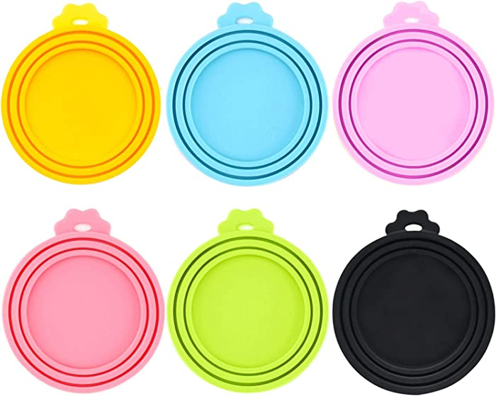 IVIA PET Food Can Lids, Universal BPA Free Silicone Can Lids Covers for Dog and Cat Food, One Can Cap Fit Most Standard Size Canned Dog Cat Food(6 Pack Multicolor
