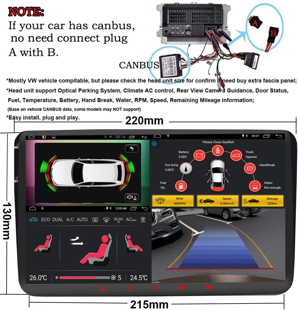 9inch 2Din GPS Navigation System Unit for Volkswagen VW Bluetooth OBD WiFi Mirror Link Capactive Touch Car Radio Android 6.0 Quad Cord Head Unit with Canbus SWC Review Camera Input GPFATTRY