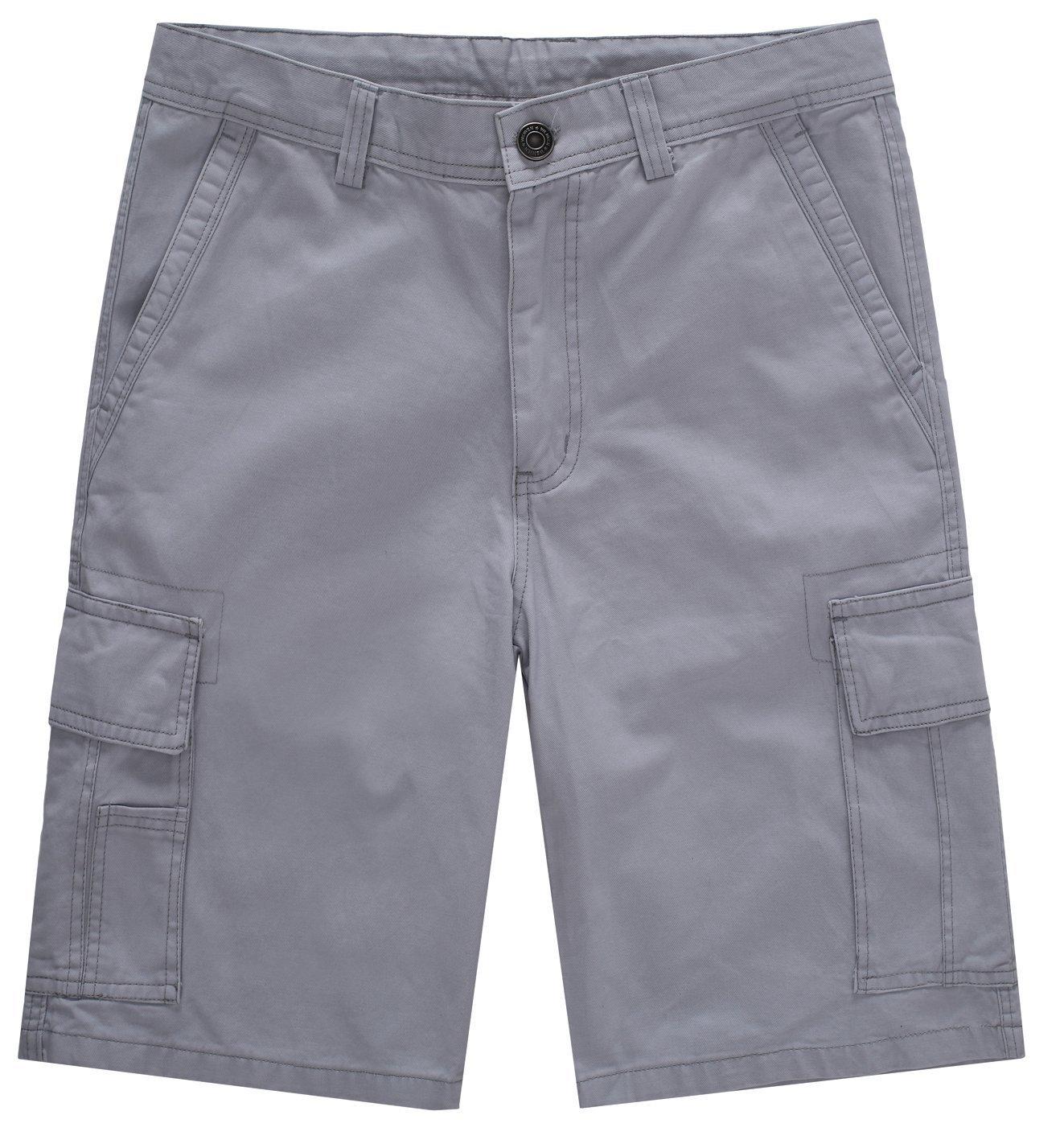 WenVen Men's Loose Fit Cotton Twill Cargo Short, Light Grey, 44