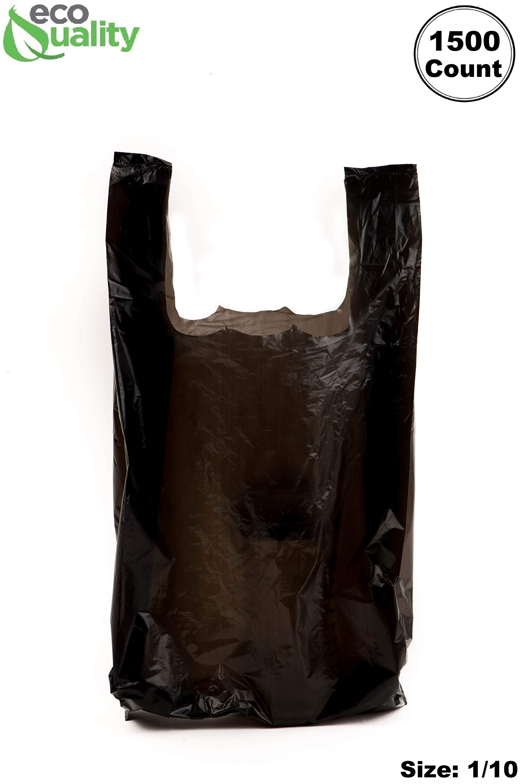 EcoQuality Plastic Black T-Shirt Bags 1500ct, 1/10 Shopping Bags, Grocery Bags, Poly Bags, Multi-Use, Small Size, Reusable Carry Out Bags (8x4x16) (13 Micron)