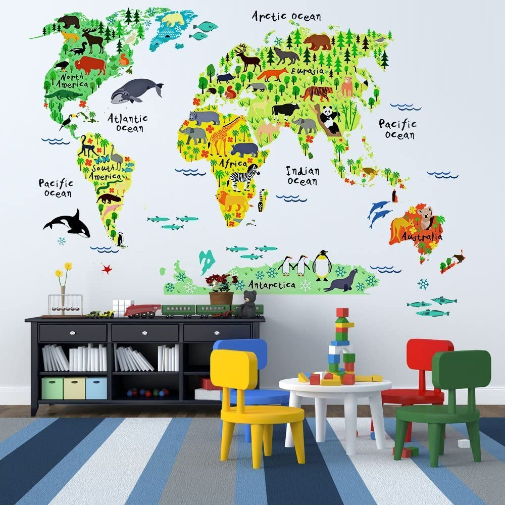 Animal World Map Wall Decal Clear Decals Reusable Vinyl Fabric Educational Decal Repositionable Decal Nursery Room Decals
