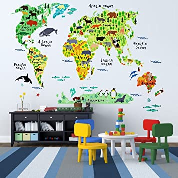 Amazoncom EveShine Animal World Map Wall Decals Stickers For - Wall decals cars