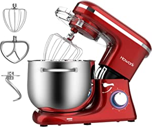 HOWORK Stand Mixer, 8.45 QT Bowl 660W Food Mixer, Multi Functional Kitchen Electric Mixer With Dough Hook, Whisk, Beater (8.45 QT, Red) (Renewed)