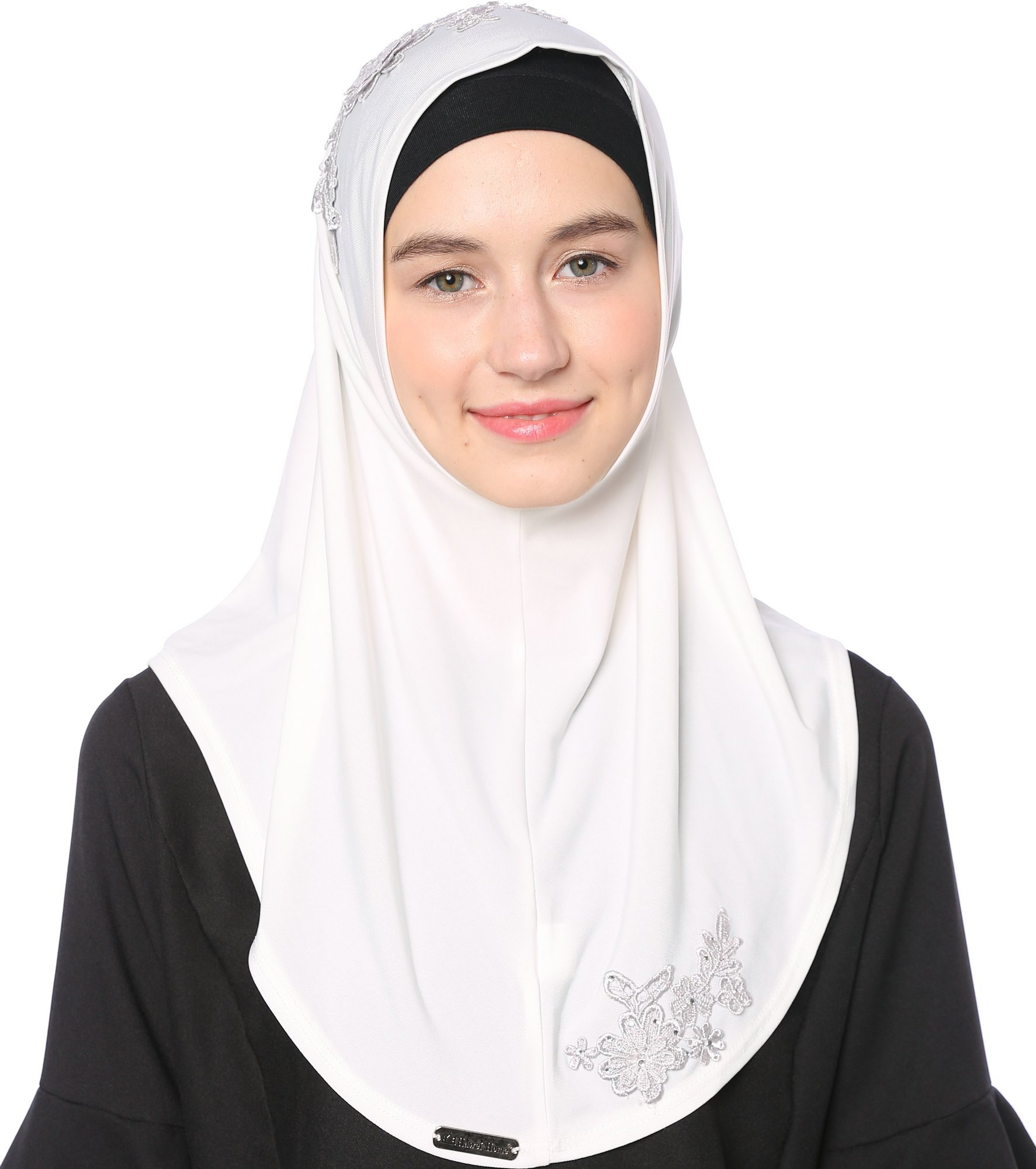Ababalaya Lace Applique Ready to Wear Islamic Hijab, Color10