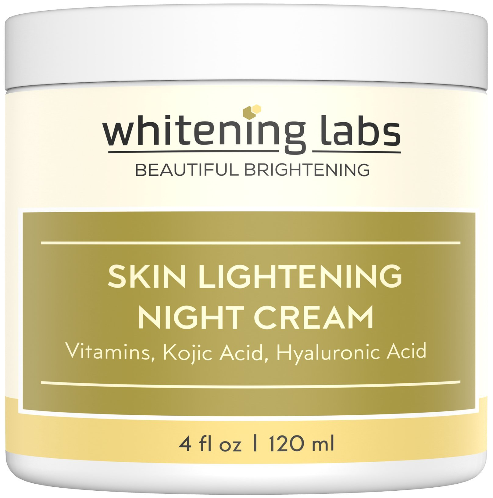Whitening Cream Natural Skin Lightening Moisturizing and Anti Aging benefits. Contains Vitamin C Hyaluronic Acid Green Tea. 4 oz