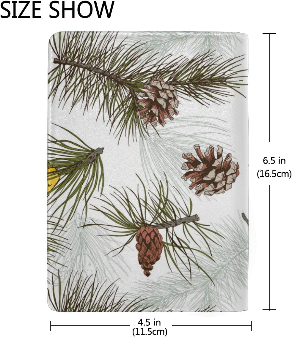 Realistic Christmas Pine Cone Leather Passport Holder Cover Case Blocking Travel Wallet