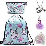 DRESHOW Unicorn Gifts for Girls 4 Pack - Unicornio Mochila con cordón/Maquillaje Bolsa/Collar Aleación Cadena/Lazos para el cabello