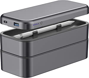 Function 101 BentoStack Charge 5000 Accessory Travel Case, Desktop Organizer, Qi Wireless Charge Cover, and Power Bank, Compatible with Apple Products - Space Gray