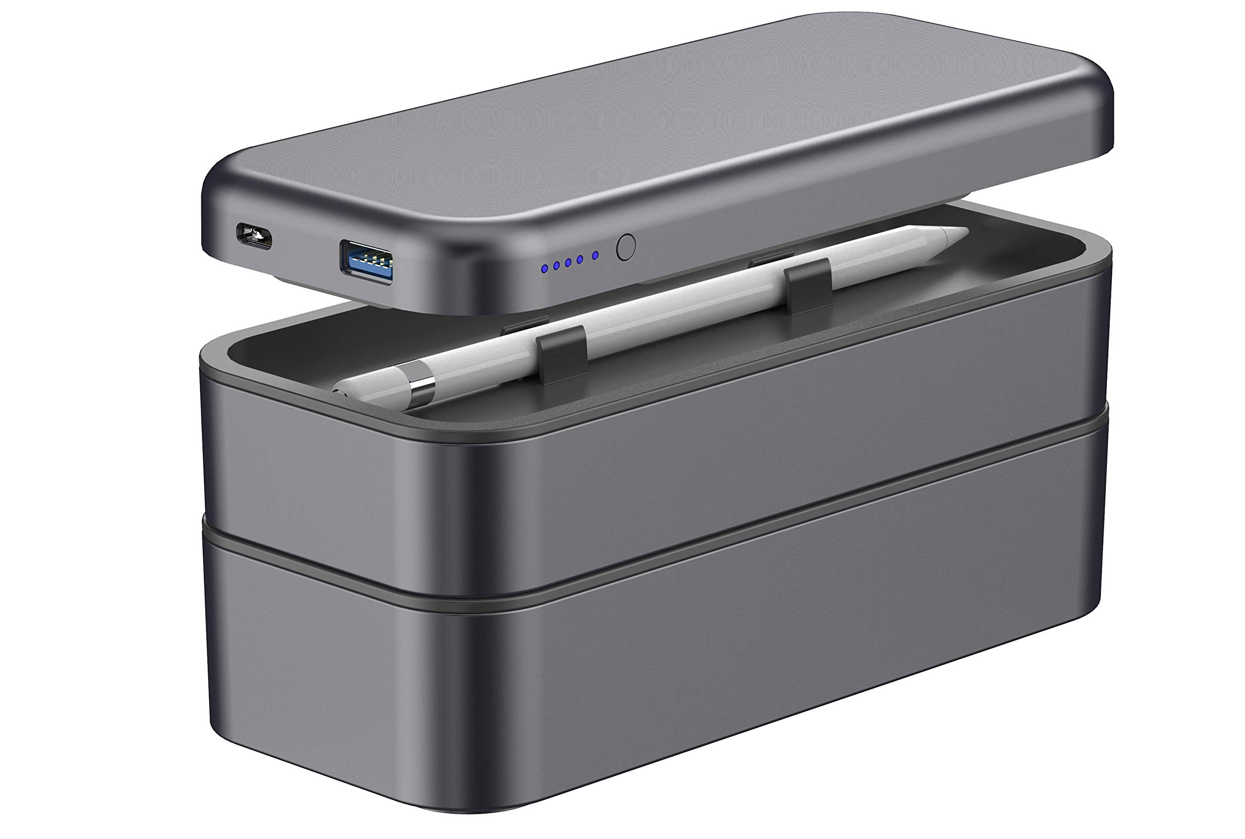Function 101 BentoStack Charge Accessory Travel Case and Desktop Organizer with Qi Wireless Charging Cover and Power Bank, Compatible with Apple Products. Fits USA Style Wall Chargers {Space Gray}