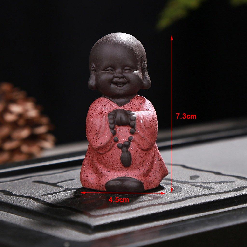 Statue Monk India Handicrafts Ceramic Tea House Miniature Homyl Little Buddha Beige Monk 7x4.5cm