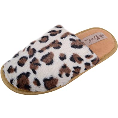 641963215234 Absolute Footwear Womens Slip On Leopard Print Mules/Slippers/Shoes with Rubber  Sole -