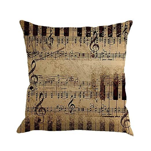 Frimuoy - Funda de cojín con diseño de Notas Musicales, 45 x ...