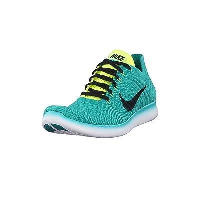 Nike Men's Free RN Flyknit Running Shoes, Verde (Clear Jade/Black-Volt