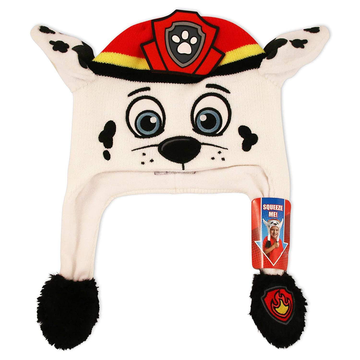Nickelodeon Boys' Little Paw Patrol Marshall Squeeze and Flap Fun Cold Weather Hat, White\Red, Age 4-7 PAZ58487AP