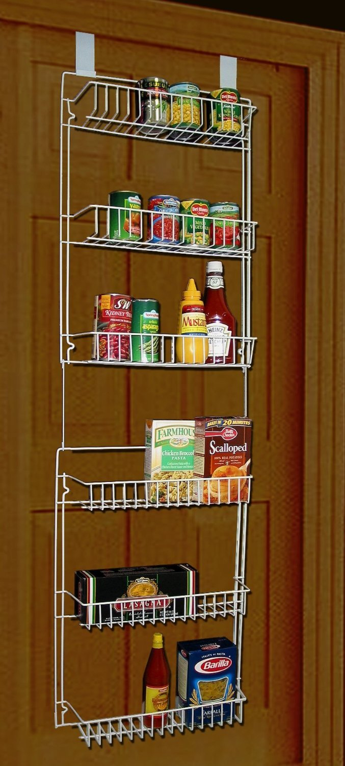 Amazon.com: Over the Door Storage Rack Organizer Kitchen Pantry Basket Spice 6 Shelfม Can Be Mounted to a Wall or Hung Over the Inside of Just About Any ...