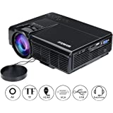 Videoproiettore, Mini Proiettore Portatile 1800 Lumen LCD Videoproiettore LED Full HD Supporto Proiettore Hdmi 1080P Multimedia Proiettore per Home Theater/Home Cinema con TV/AV/VGA/USB/HDMI