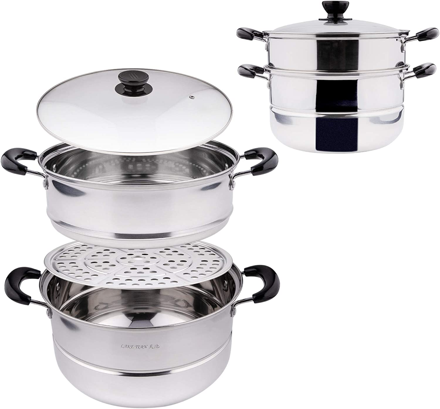 2 Tier Stainless Steel Stackable Cookware Food Steamer Pot For Cooking Pots/Saucepan Set 4 pc w/Rack & Basket Tray, Double Boiler, Vegetable Steamer (28cm/11in) BY Lake Tian