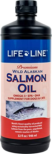 Life Line Pet Nutrition Wild Alaskan Salmon Oil Omega-3 Supplement for Skin Coat Supports Brain, Eye Heart Health in Dogs Cats