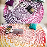 Set of 2 Ombre Mandala Round Tapestry Hippie Indian Mandala Roundie Picnic Table Cover Hippy Spread Boho Gypsy Cotton Tablecloth Beach Towel Meditation Round Yoga Mat - 72 Inches, Yellow and Pink
