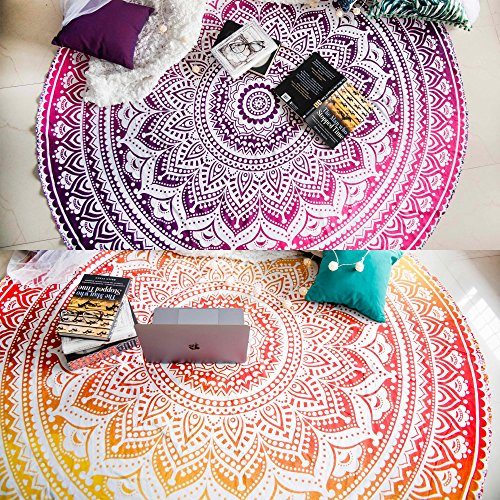 Set of 2 Ombre Mandala Round Tapestry Hippie Indian Mandala Roundie Picnic Table Cover Hippy Spread Boho Gypsy Cotton Tablecloth Beach Towel Meditation Round Yoga Mat - 72 Inches, Yellow and Pink (Tablecloths Living Round Space)
