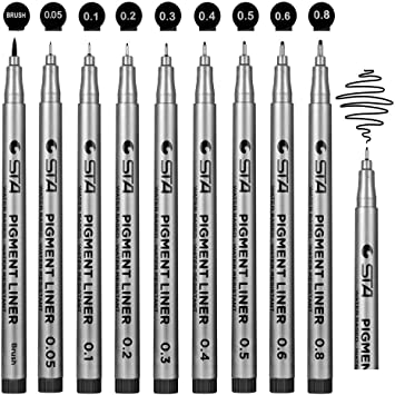 Fineliner Pens Beupro Black Pigment Liner Micro Liner Drawing Pens for Sketchin
