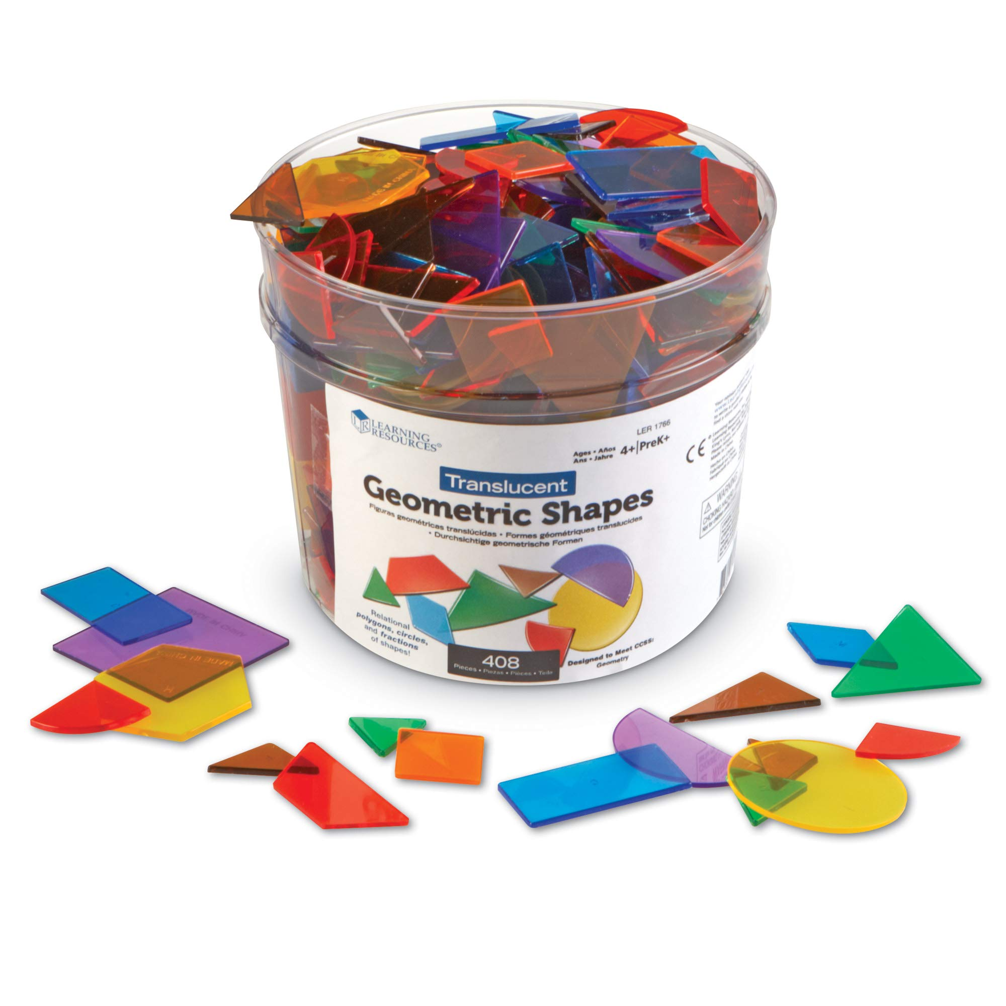Learning Resources Translucent Geometric Shapes, Early Geometry Skills, Classroom Accessories, Teacher Aids, 408 Pieces, Grades Pre-K+, Ages 4+ by Learning Resources
