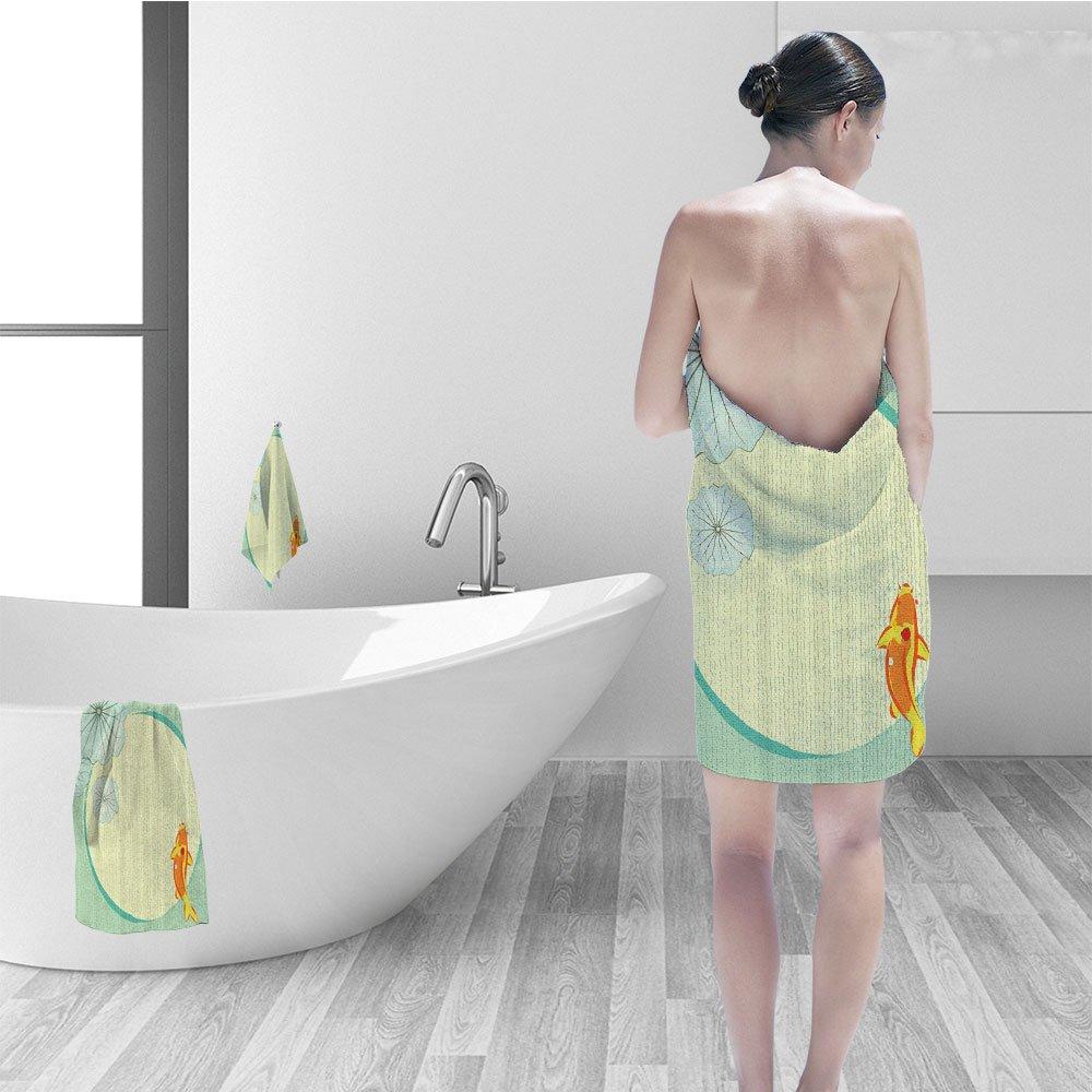 Nalahomeqq Bath towel set Ocean Animal Decor Cartoon Fancy Chinese Fish Koi in Lilly Pond Oriental Floral Print Artwork Fabric Bathroom Decor Multi