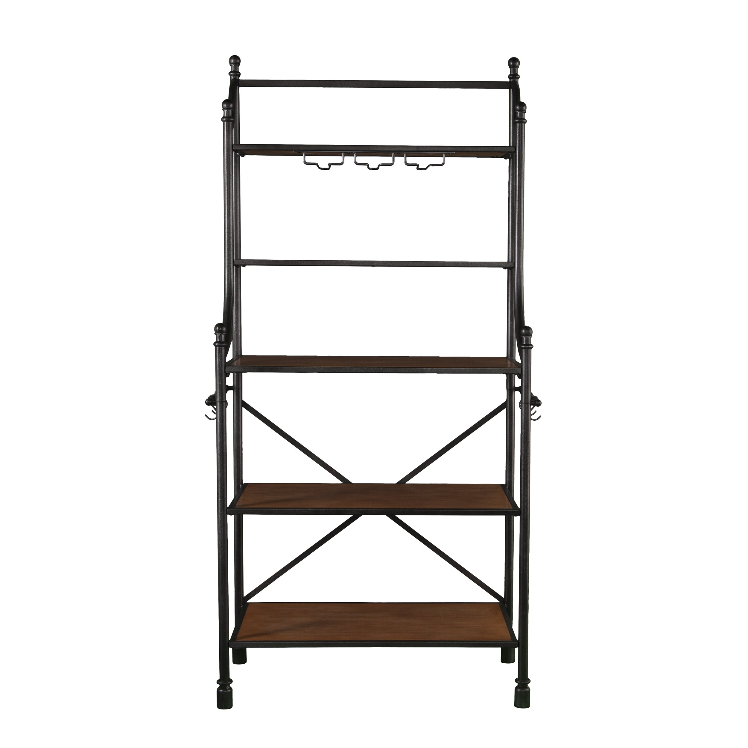 Furniture HotSpot - Bakers Rack/Microwave Stand - Black w/ Honey Pine - 33'' W x 17'' D x 66.25'' H
