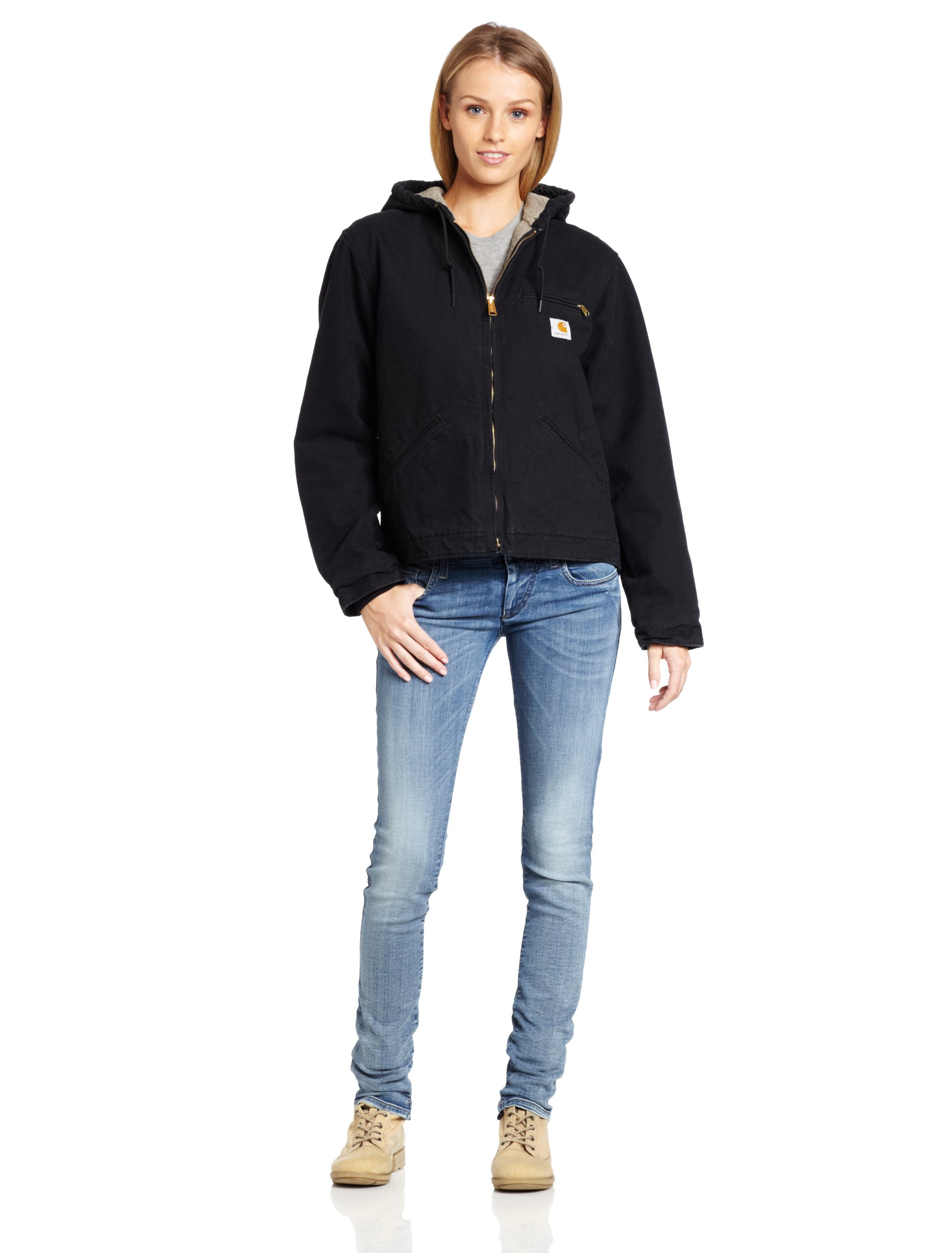 Carhartt Women's Sherpa Lined Sandstone Sierra Jacket Zip Front Hooded WJ141,Black,Large