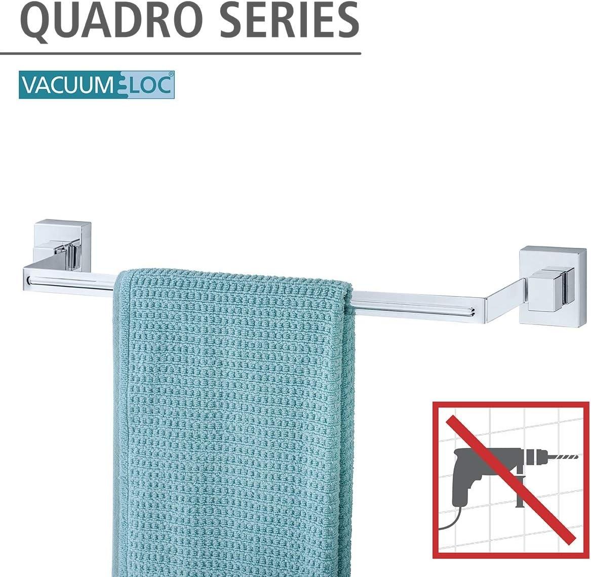 WENKO 22684100 Porte serviette Uno Quadro Vacuum-Loc 60,5 x 6 x 7 cm ABS//Acier Inoxydable