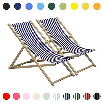 Jardinla Harbour Housewares Marine Traditionnelle Pour Plage Longue Le Chaise Réglable X2 Bleue n0NOvmw8