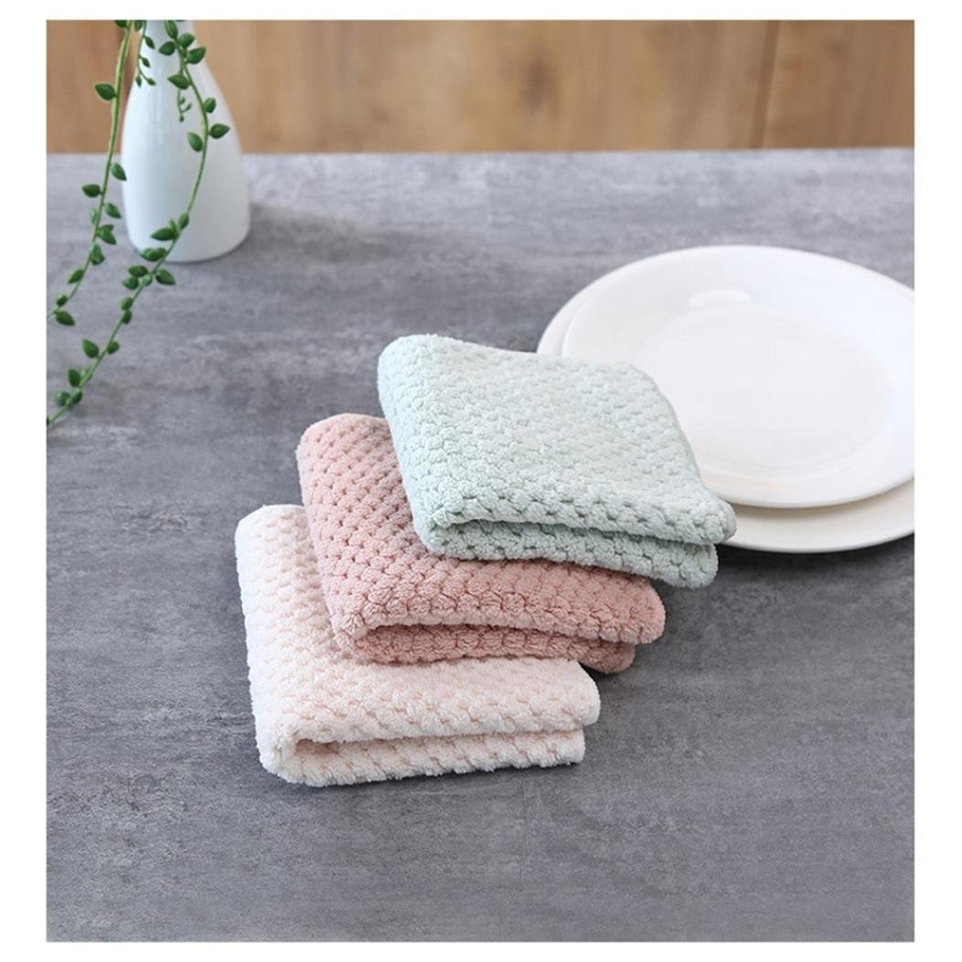 Clearance Sale!DEESEE(TM)Nonstick Oil Coral Velvet Hanging Hand Towels Kitchen Dishclout (Beige) by DEESEE(TM)_Home (Image #6)