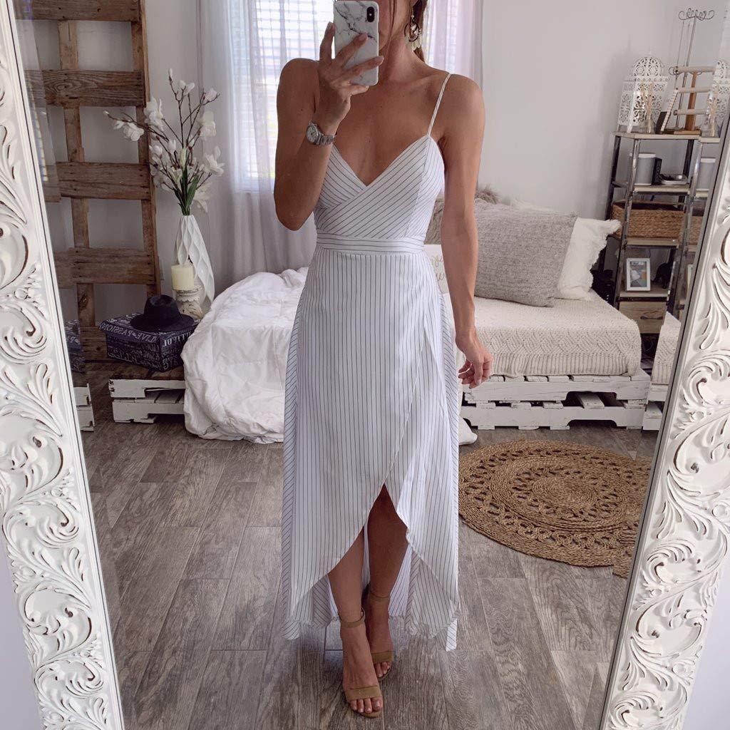 MERICAL Vestido de Fiesta para Mujer Irregular con Cuello en V Vestido Largo para Mujer Vestido Largo a Rayas de Verano