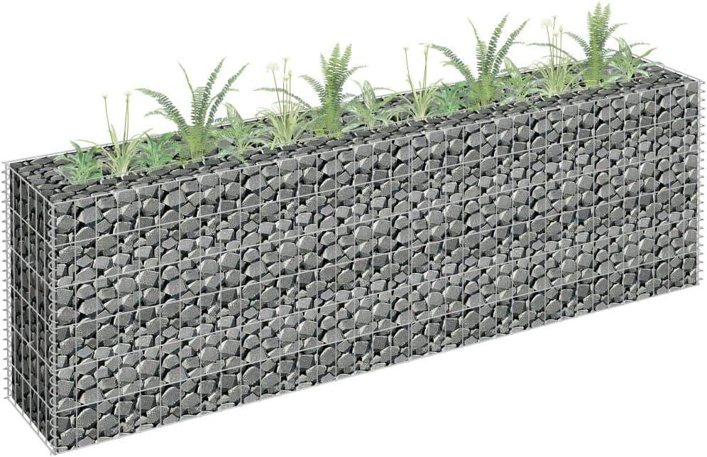 vidaXL Gabion Planter Galvanised Steel Planter Fencing Wire Patio Flower Plant Bed Stone Wire Garden Outdoor Landscape Gabion Pot 90x30x30cm