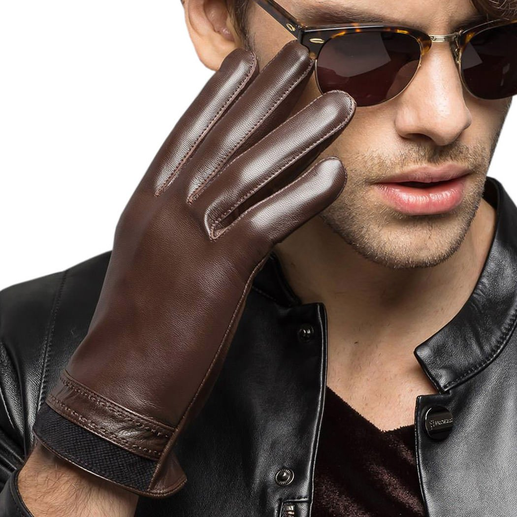 Men's Genuine Leather Gloves For Men With Stitching Cuffs Winter Warm Brown XL