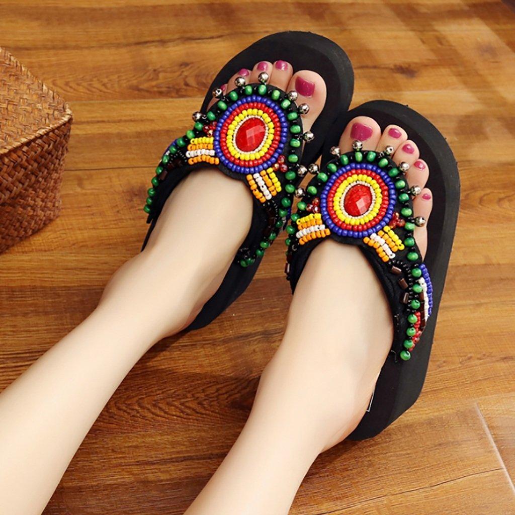 YLLXZ Zapatos de Mujer Sandalias Primavera y Verano Fondo Suave Pendiente Grueso Fondo Folk-Custom Flip Flops Zapatos de Playa Costera Zapatos al Aire Libre Zapatos caseros (Tamaño : UK6/EU39/CN39) UK6/EU39/CN39