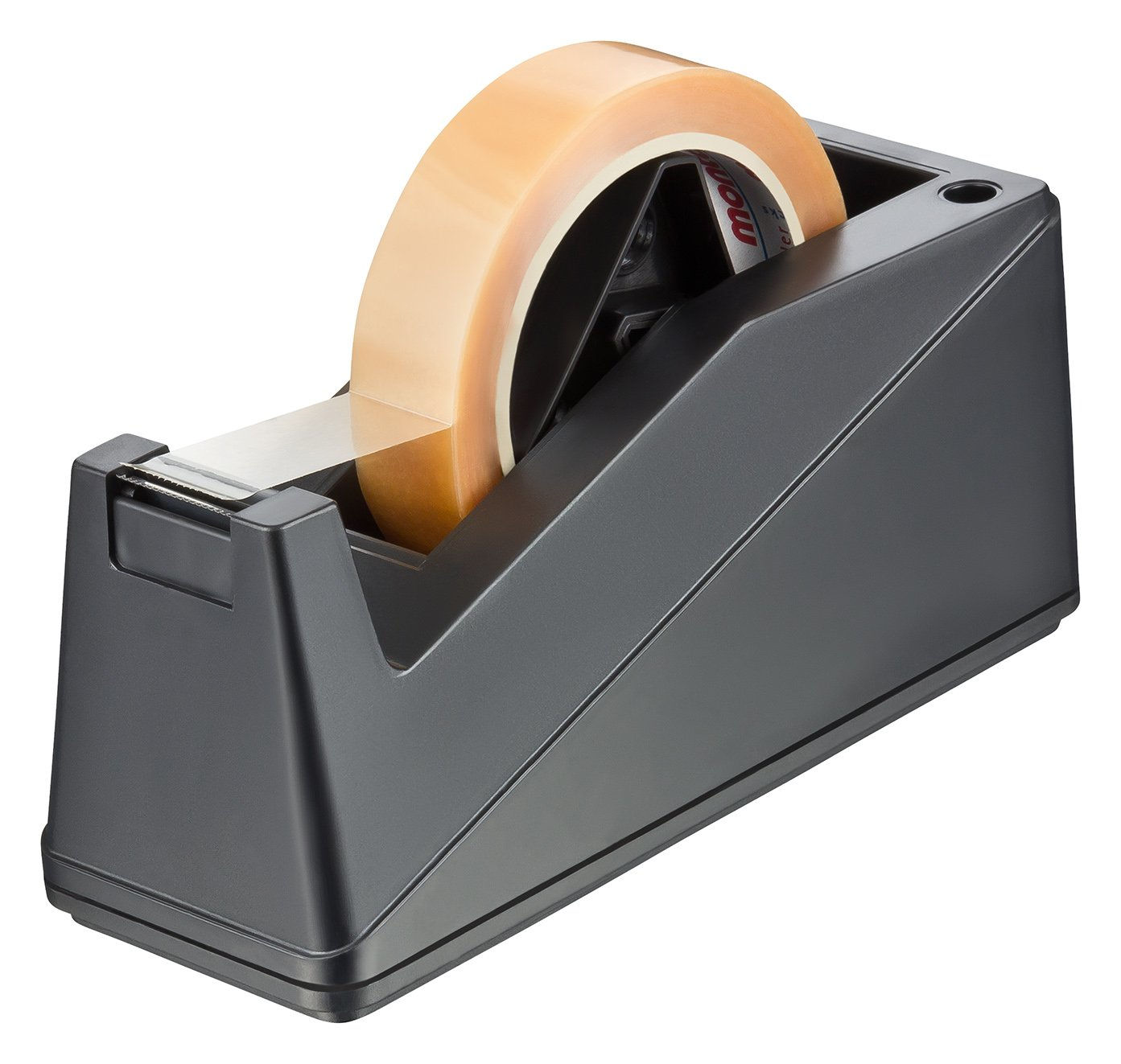 haggiy Desktop Tape Dispenser stable and heavy (3 lb.) One-hand Dispensing, 1-Inch and 3-Inch Core (Black)