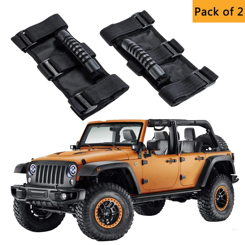 Heavy Duty Wrangler Jeep Grip Handle Set Safe Adventure Experience Car Accessory AnnBay Roll Bar Grab Handles Easy-to-Fit Triple Banded for Security 1955-2018 Models Pack of 4