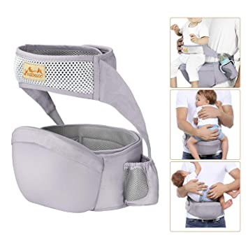 Gray Viedouce Baby Carrier Ergonomic with Hip Seat//Pure Cotton Lightweight and Breathable