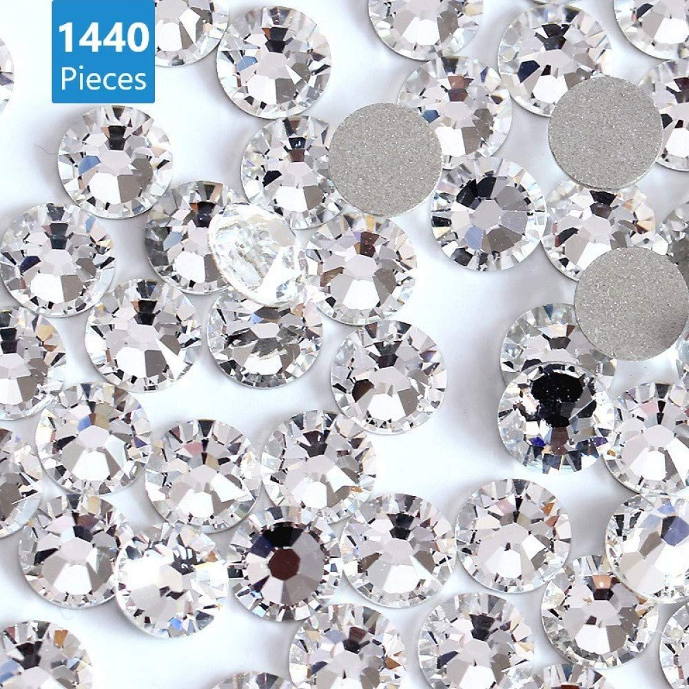 Non Self-Adhesive 3.1mm Clear Crystal Flat Back Brilliant Round Rhinestones Glass Stones Glitter Gems Transparent Faux Diamond Onwon 1440 Pieces SS12 Clear
