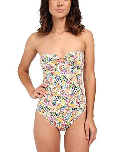 15ec8630e6 Lauren Ralph Lauren Women's Colorful Paisley Ring Strapless One-Piece  w/Slimming Fit &