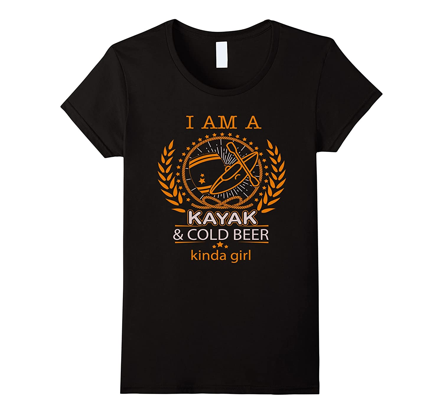 Womens I am a Kayak and Cold Beer Kinda Girl - Kayaking T Shirt-TH