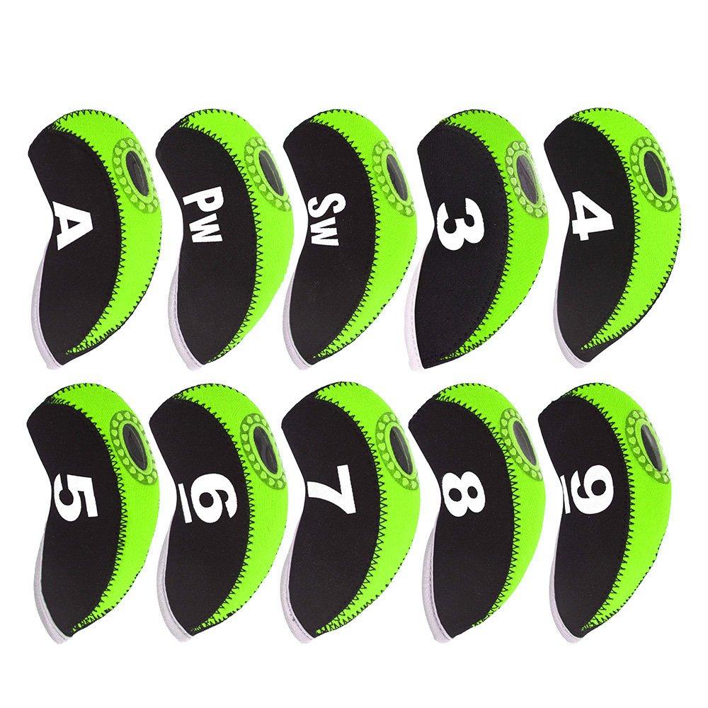 deboniceゴルフクラブヘッドカバー防水ネオプレンゴルフアイアンカバーと番号タグ11pcs /セット(ブラック) B078N6QH1P