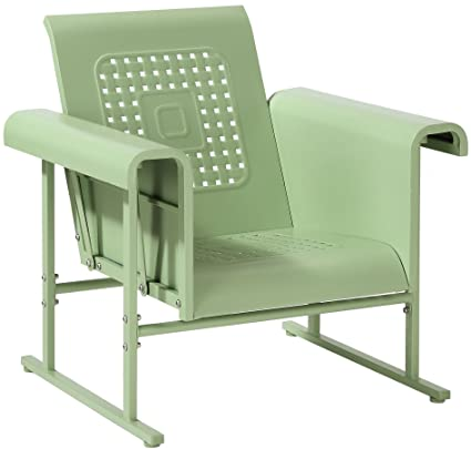 Gentil Crosley Furniture Veranda Metal Outdoor Single Glider Chair   Oasis Green