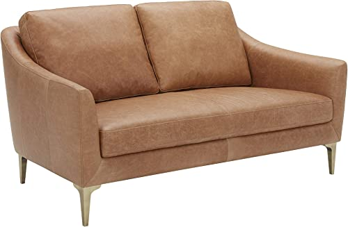 Amazon Brand Rivet Alonzo Contemporary Leather Loveseat Sofa