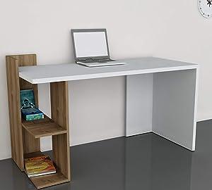 LAKDI Home Office Computer Study Desk/Table with Designer Shelf (121534138_BeechSuperWhite)